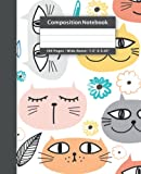 Colorful Cat Faces With Milk White Background Composition Notebook: Wide Ruled, 7.5' x 9.25', 100 Pages, 50 Sheets Composition Notebook For Kids, Teens & Adults