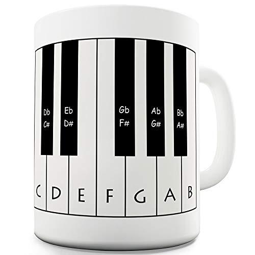 Funny Becher Piano Tastatur von Twisted Envy, keramik, weiß, 15 OZ