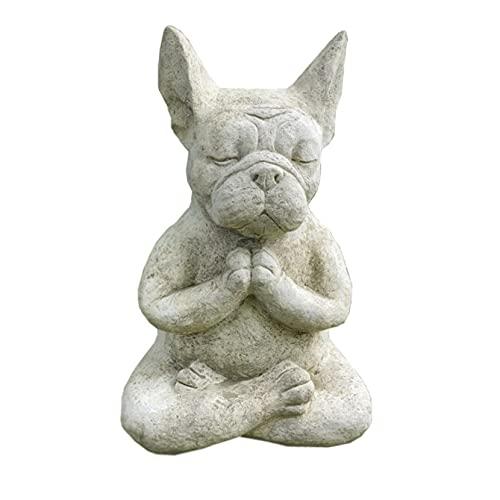Qistubay French Bulldog Statue, Meditating Sitting French Bull Dog Decoration, Super Cute Yoga Pray Bull Dog Ornament for Garden Lawn Home Decor