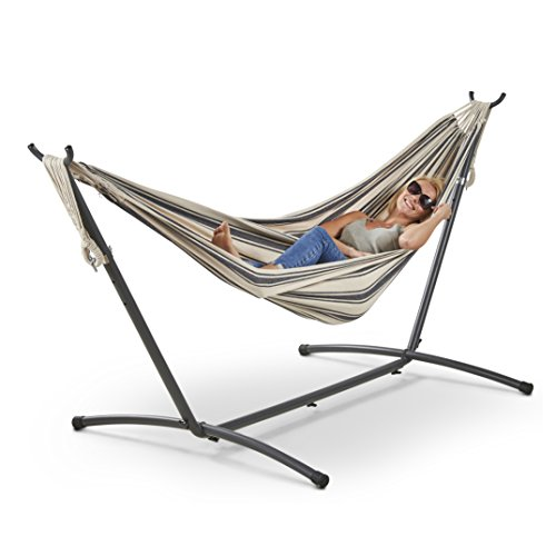 VonHaus 2 Person Hammock With Frame – 100% Cotton Fabric In Nautical Blue & White Stripe Standing Double Swinging Hammock with Sturdy Steel Frame for Outdoor, Garden and Patio