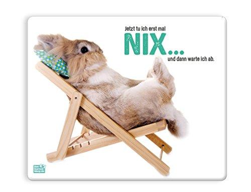 Witziges Mauspad, Mousepad 23 x 19 cm, mit Motiv, Kaninchen im Liegestuhl Ich tue heute nix und dann warte ich erst mal ab