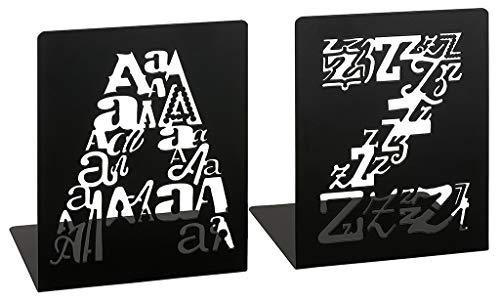 Moses Buchstützen A & Z Letters libri_x | 2er Set Buchständer aus Metall mit ausgestanzten Buchstaben | In Einer Geschenkbox, schwarz, One Size