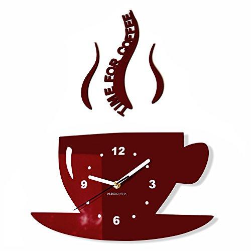 TASSE Time for Coffee (Zeit für Kaffee) Moderne Küche Wanduhr, Braun, 3d römisch, wanduhr deko