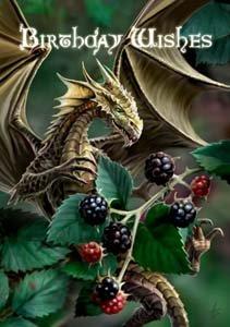 Geburtstagskarte von Anne Stokes, Motiv 'Brombeeren mit Drachen'