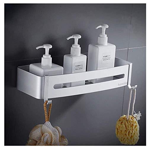 Kazeila Duschregal Eckregal - Bad Duschwanne mit 2 Haken - Duschkorb - Ohne Bohren - Raum Aluminium, Poliert (Rechteck)