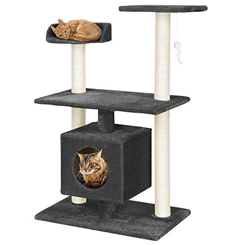 [en.casa] Katzen Kratzbaum (ca. 60 x 40 x 95 cm)(grau) Kuschelhöhlen / Aussichtsplatformen / Sisal / mit vielen Spiel – und Kuschelmöglichkeiten - 6