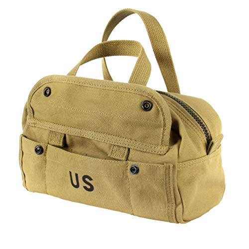 OLEADER Reproduction WW2 US Army Style 12 Inch Tool Bag Canvas Packbag,Khaki