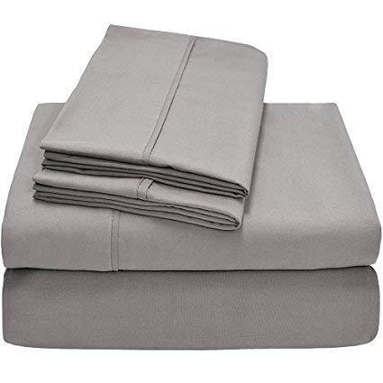 Pushp Linen - Juego de satén en algodón egipcio de 400hilos con calidad de hotel, 5colores, se adapta a cualquier colchón de hasta 40cm de profundidad, algodón, gris claro, UK King
