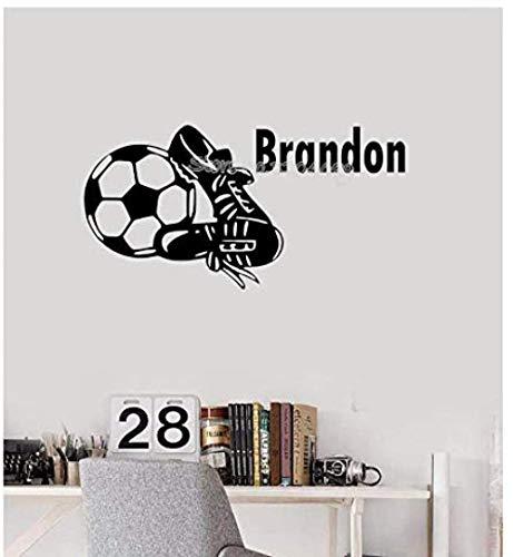 Botas de fútbol nombre personalizado pegatinas de pared hermosas botas de fútbol calcomanías personalizadas habitación de los niños papel tapiz art deco 60 cm x 30 cm