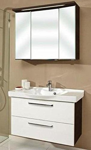 PELIPAL Trentino 92cm mit Keramikwaschbecken, Unterschrank und Spiegelschrank