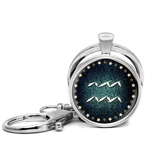 Llavero de acero inoxidable con llavero, ligero y decorativo, ideal como regalo para hombres y mujeres, zodiaco acuario