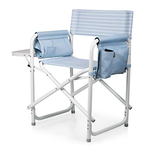 ONIVA - a Picnic Time Brand Outdoor Directors Folding Chair, Mod Denim Stripe