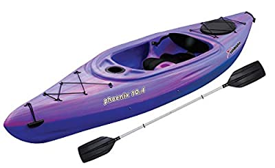 SUN Dolphin Phoenix 10.4 Fishing Holiday Vacation River Lake Sit-in Kayak, Paddle Included (Pink/Purple)