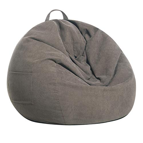 SANMADROLA Stuffed Animal Storage Bean Bag Chair Cover (No Beans) for Kids and Adults. Premium Corduroy Stuffable Beanbag for Organizing Children Plush Toys or Memory Foam Extra Large 300L (Warm Grey)