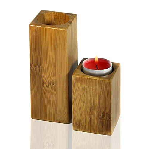 2er Set Kerzenständer/ Teelichthalter aus Bambus,Teelichter, Kerzenhalter …