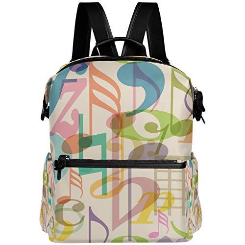 Oarencol - Mochila con símbolos musicales coloridos, para la escuela, libros, viajes, senderismo, camping, portátil, mochila