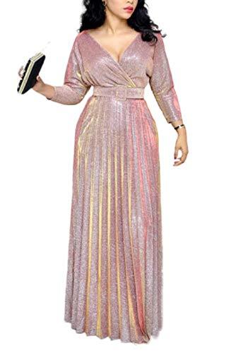 CORAFRITZ Damen Elegant Gemütlich V Ausschnitt Slim Fit Lange Ärmel Pailletten Abend Meerjungfrau Kleid Elegant Lang Abendkleid Rose Slim Kleid