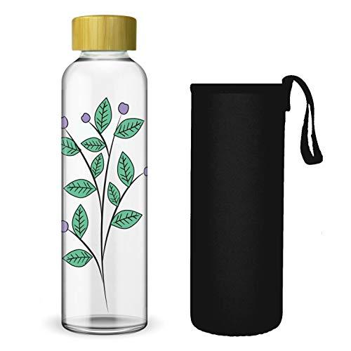 Wenburg Trinkflasche/Glasflasche mit Print und Bambus Deckel 550/750/1000 ml, Neopren Hülle. Sportflasche/Wasserflasche aus Glas. Für Unterwegs. Für Tee, Wasser, Smoothie (550 ml, Blätter)