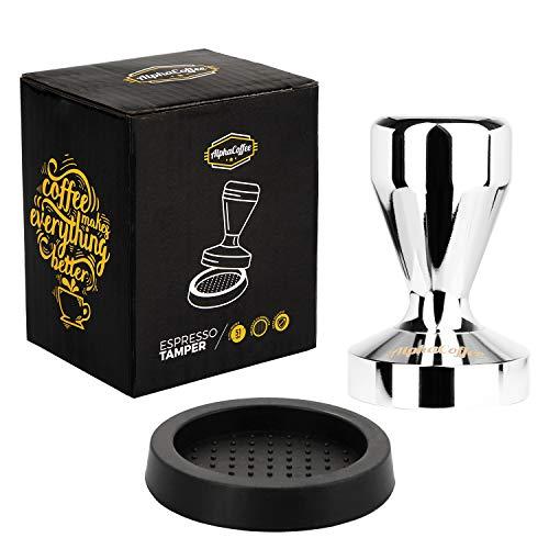 AlphaCoffee Espresso Tamper 51mm inklusive Tamper Matte für Espressomaschine Siebtraeger, Siebträger Zubehör, Tamper Set: 51mm Tamper mit Tamping Matte, Kaffee Tamper Set, Barista Zubehör