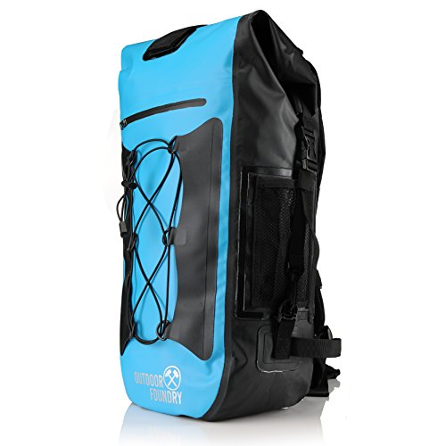 Outdoor Foundry 100% Waterproof 35L Dry Bag Backpack - (Without Optional Laptop Sleeve) - Padded Back and Straps - for Water Sports, Adventure Travel, Motorcycle Trips, or a Day at The Beach