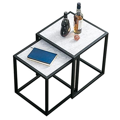 Tavolini da caffè Quadrati, 2 tavolini a Incastro Set tavolino da Salotto Moderno in Stile Minimalista (Bianco e Nero)