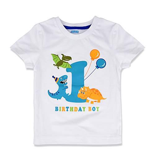 AMZTM Dinosaurio Camiseta de Cumpleaños - 1er Bebé Cumpleaños Suministros para la Fiesta Camisetas de Manga Corta para Bebé Niños Blanco Cuello Redondo de 100% Algodón Camiseta Tops