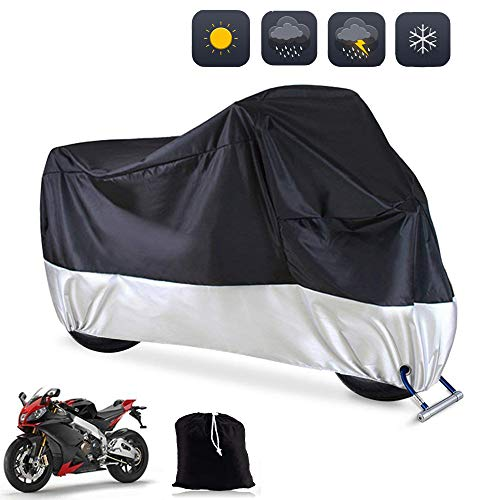 Big Hippo Motorbike Cover, Waterproof Motorcycle Cover 108   XXL 190T Motorcycle Indoor Outdoor Protection Motorbike Rain Cover Anti Scratch Dust UV with Lock-holes Universal for All Motorcycles