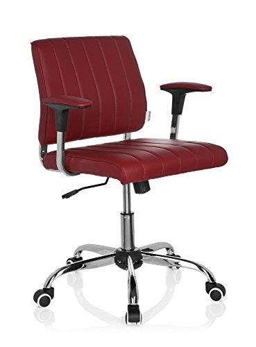 hjh OFFICE 719060 Home-Office Bürostuhl FERNANDO Kunstleder Rot Drehstuhl mit niedriger Rückenlehne, Armlehnen gepolstert