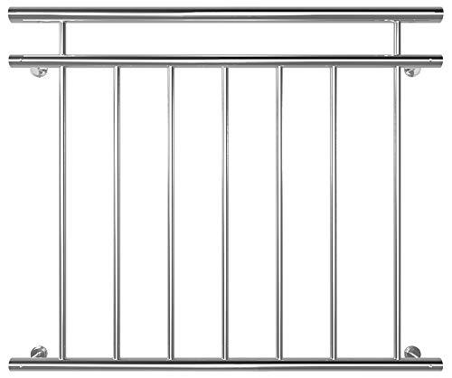 V2Aox Edelstahl Französischer Balkon Geländer Balkongeländer 90 x 100-225 cm, Breite:100 cm