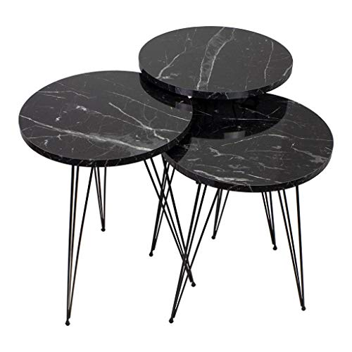 Derin's Tavolino | Effetto marmo | Nero | Design di lusso | Oro | Tavolini da salotto impilabili in marmo | Tavolino rotondo | Tavolo da salotto | Oro | Tavolo da salone di lusso | 39 x 39 x 54 cm