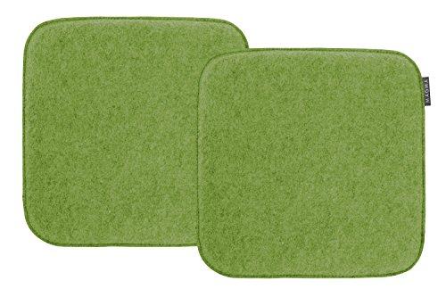 Magma-Heimtex AVARO, set di 2 cuscini quadrati per sedie, in finto feltro, circa 35 x 35 cm, di colore verde
