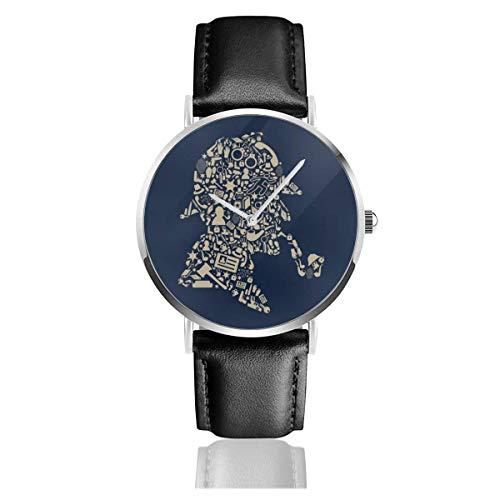 Orologi Quarzo Pelle Cinturino Nero Collezione Young Regalo Unisex Business Casual Sherlock Holmes Collage
