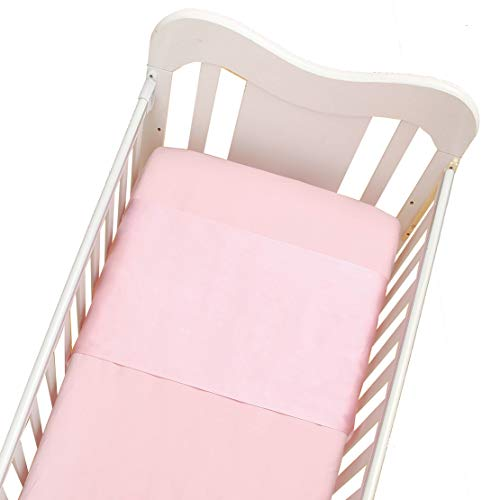 Cozysilk 100% Mulberry Silk Cot Sleeve for Cribs / Bassinets, Cot or Crib Semi Sheet, Mini Crib Silk Slip, No More Bed Head and Baby Bald Spots (Light Pink)