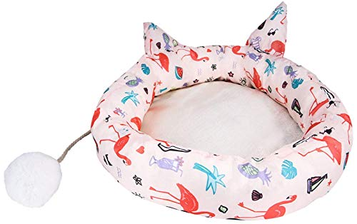 Cute Cat Shape Bed For Indoor Small Medium Cats With Cat Plush Toy Ball, Soft Cat Sofa With Anti-Slip Bottom Washable Mattress Bed (Color : Flamingo, Size : XL) XYXG
