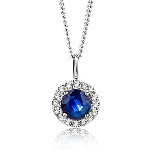 Orovi Halskette Damen Weißgold 9 Karat / 375 Gold Kette Safir mit Rundschliff Diamant Kette 45 cm