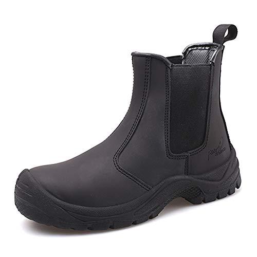 Willsky Zapatos De Seguridad para Hombres, Puntera De Acero Botas De Seguridad Zapatos De Trabajo Entrenadores De Protección De Seguridad Zapatos De Soldador Antiestáticos para Adultos,Negro,43
