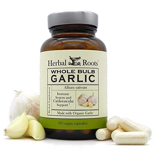 Herbal Roots Garlic - Organic Whole Bulb Garlic Supplement Pills - No Soy - Potent Extra Strength - Immune Support - 600 mg, 60 Capsules - Made in The USA