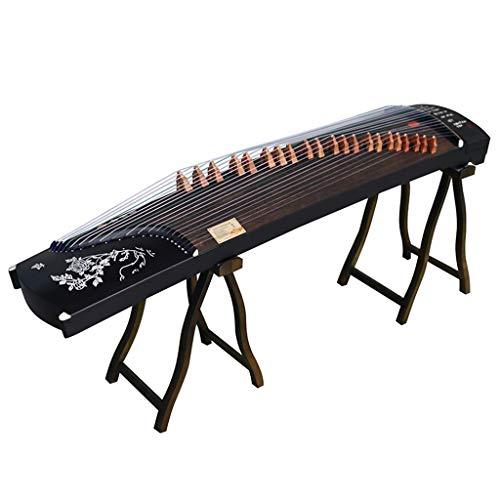 GuanXiao Chinesische Guzheng-Handbeschriftung Gravierserie Anfänger Holz Paulownia Zither Schwarze Schmetterlings-Liebes-Blume