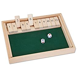 """Image of Bits and Pieces - Wooden Shut The Box 12 Dice Game Board - Classic Tabletop Version of The Popular English Pub Game - Measures 7-3/4"""" x 14"""" x 1-1/4"""" Includes 2 dice and Instructions: Bestviewsreviews"""