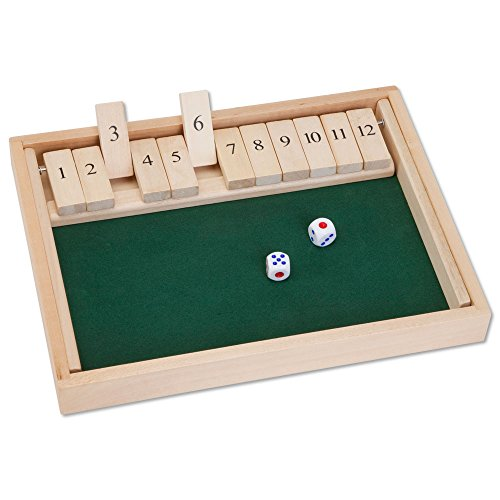 Bits and Pieces - Wooden Shut The Box 12 Dice Game Board - Classic Tabletop Version of The Popular English Pub Game - Measures 7-3/4' x 14' x 1-1/4' Includes 2 dice and Instructions