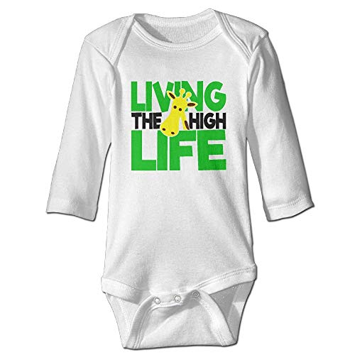 SDGSS Combinaison Bébé Bodysuits Living The High Life Unisex Baby Long Sleeves Bodysuit for 6-24m Baby