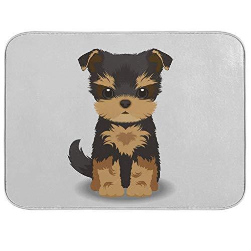 Tapis de séchage à vaisselle en microfibre de comptoirs de cuisine protecteur de coussin sec 16 x 18 pouces Yorkshire Terrier chiot chien