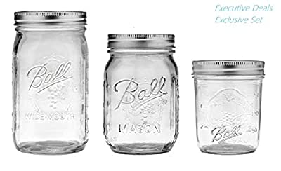 Ball Mason Jars 8 oz, 16 oz, 32 oz Bundle - Regular & Wide Mouth Ball Glass Canning Jars with Lids Variety Pack