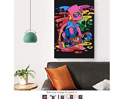 KUANGXIN Animation Farbmalerei Homer Jay Simpson Bart, Skateboard Kunst Poster Poster Dekorative Malerei Leinwand Wandkunst Wohnzimmer Poster Schlafzimmer Malerei (60X80Cm) -24x32 Zoll ohne Rahmen