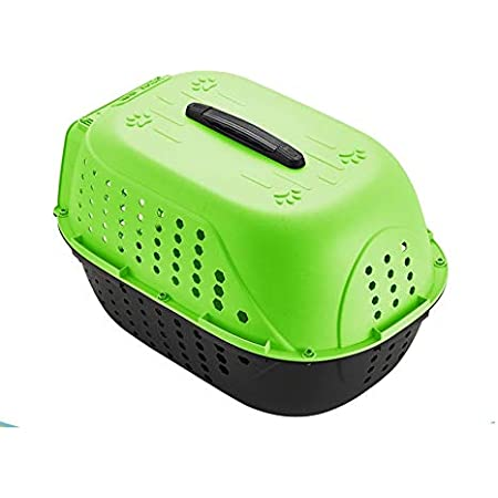 Royale Dog Pet Travel Carrier Dog Cat Rabbit Basket Plastic Handle Hinged Door Folding Collapsible Transport Box Crate Cage for Puppy Cats, Dimensions : 48 x 32 x 30 cm- Green