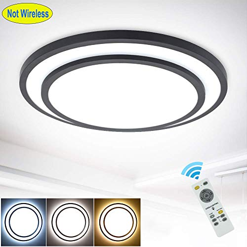 DLLT 48W Round LED Ceiling Light Fixture Flush Surface Mount, Dimmable Remote Control Lighting, 3 Light Color Changeable for Dining Room, Living Room, Company, Hotel