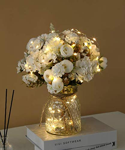 Aitificial LED White Rose Flowers with Glass Vase, Flower Arrangement for Table Centerpiece, Home Office Wedding Decoration