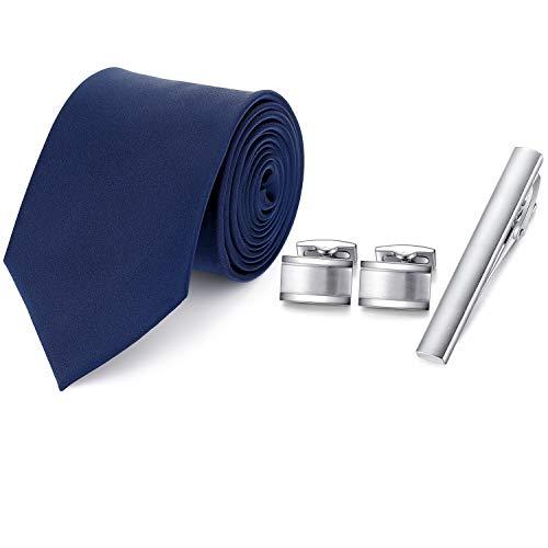 HONEY BEAR Mens Woven Silk Krawatte Krawattenklammer Manschettenknöpfe Set für formale Business Hochzeitsgeschenk mit Box (Navy blau)