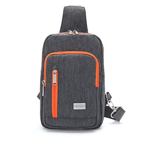 Loisirs Sac de Poitrine nylon voyage de voyage respirable portable grande capacité hommes dames sacs Messenger Bag Sling bag , dark grey