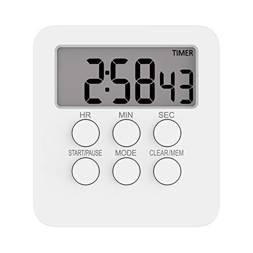 Lecone タイマー 大画面 キッチンタイマー 勉強用 24時間デジタルタイマー マグネット付き 時計機能 アラーム機能 カウントダウン/カウントアップ機能 3in1 多機能タイマー 消音切替 音光切替可能 置き掛け2way 最大23時間59分59秒 単